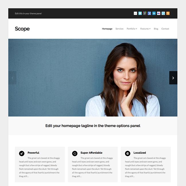 scope business portfolio wordpress theme wpmail